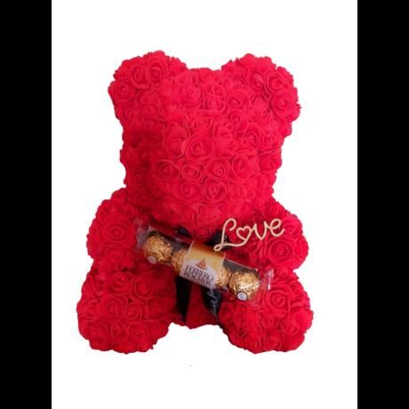 """Rózsa maci Ferrero Rocher desszerttel """"Love"""" örök virág maci, habrózsa díszdobozban - piros 40 cm"""