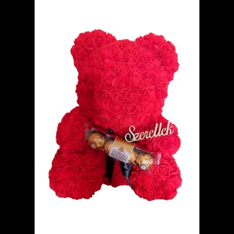 """Rózsa maci Ferrero Rocher """"Szeretlek"""" örök virág maci, habrózsa díszdobozban - 40 cm"""