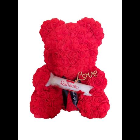 """Rózsa maci Raffaello desszerttel """"Love"""" örök virág maci, habrózsa díszdobozban - piros 40 cm"""