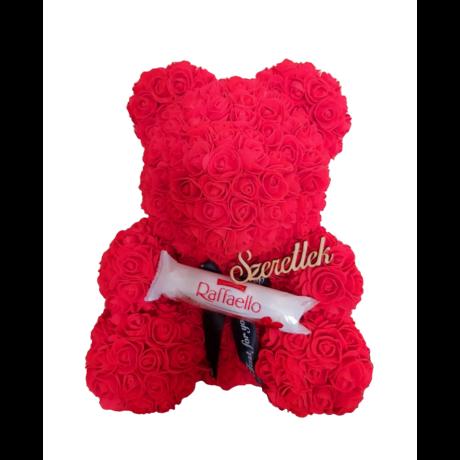 """Rózsa maci Raffaello """"Szeretlek"""" örök virág maci, habrózsa díszdobozban - piros 40 cm"""