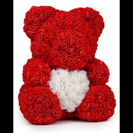 Rózsa maci díszdobozban 40 cm - piros fehér szívvel