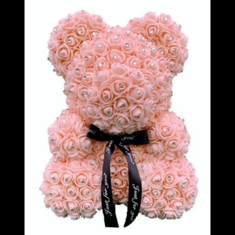 Rózsa maci, virágmaci csillogó strasszkővel 40 cm - barack