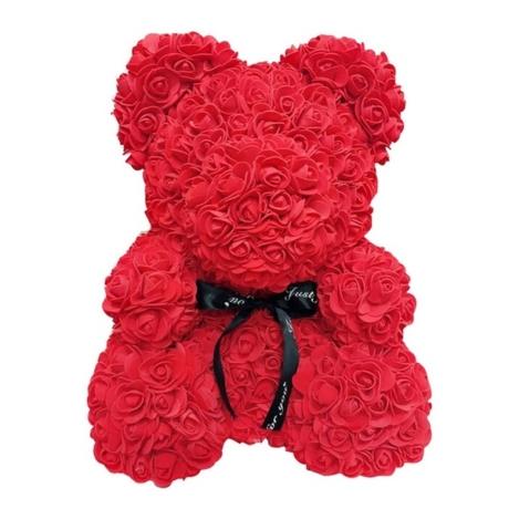 Rózsa maci díszdobozban 40 cm - piros