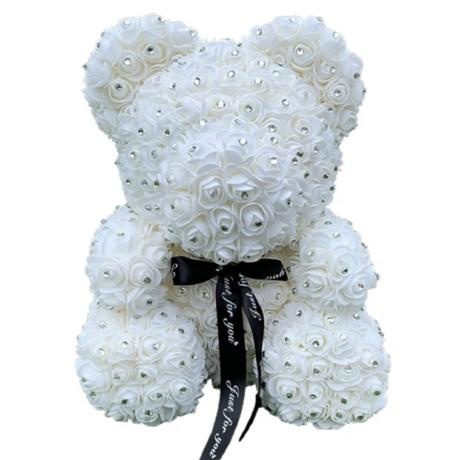 Rózsa maci, virágmaci csillogó strasszkővel 40 cm - fehér