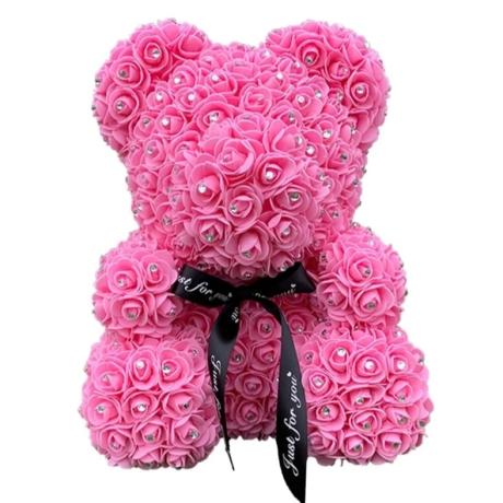 Rózsa maci, virágmaci csillogó strasszkővel 40 cm - rózsaszín