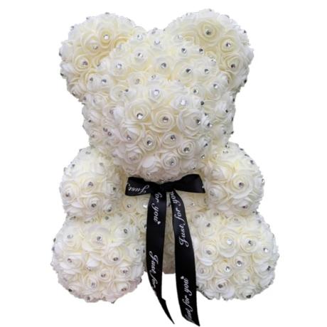 Rózsa maci, virágmaci csillogó strasszkővel 40 cm - krémfehér