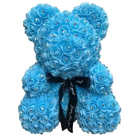 Rózsa maci, virágmaci csillogó strasszkővel 40 cm - kék