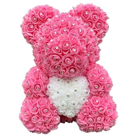 Rózsa maci, virágmaci csillogó strasszkővel 40 cm - rózsaszín fehér szívvel