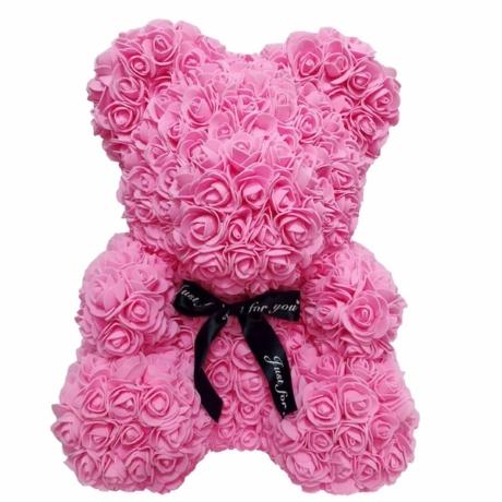 Rózsa maci díszdobozban 40 cm - rózsaszín
