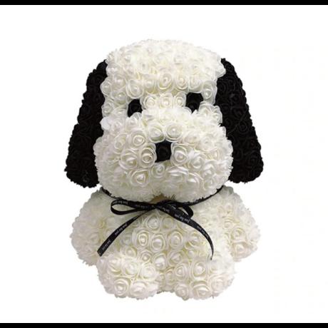 Rózsa kutyus, örök virág ülő kutya díszdobozban - fekete-fehér - Snoopy - nagy