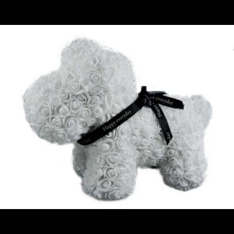 Rózsa kutyus, örök virág westie kutya - fehér 40 cm