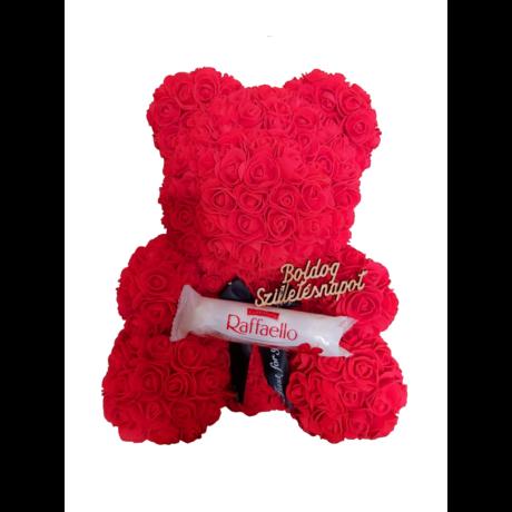"""Rózsa maci Raffaello """"Boldog születésnapot"""" örök virág maci, habrózsa díszdobozban - 40 cm"""