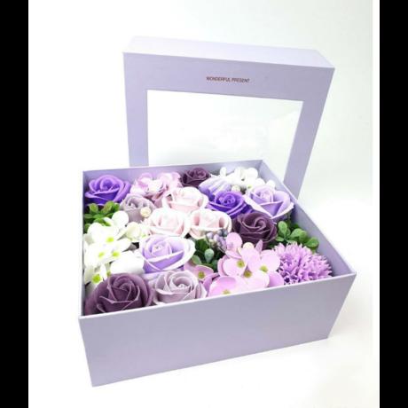 Szappan rózsadoboz Wonderful Present - lila - levehető tetővel
